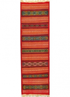 Berber carpet Rug Kilim long Gasrine 60x195 Red/Multicolour (Handmade, Wool) Tunisian Rug Kilim style Moroccan rug. Rectangular