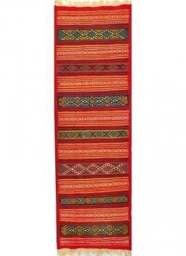 Tapis berbère Tapis Kilim long Gasrine 60x195 Rouge/Multicolore (Tissé main, Laine) Tapis kilim tunisien style tapis marocain. T