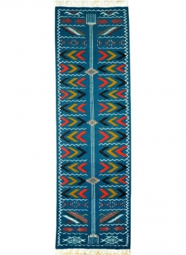 Berber tapijt Tapijt Kilim lang Ben Aoun 65x230 Blauw (Handgeweven, Wol, Tunesië) Tunesisch kilimdeken, Marokkaanse stijl. Recht