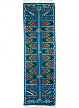 Tapis berbère Tapis Kilim long Ben Aoun 65x230 Bleu (Tissé main, Laine, Tunisie) Tapis kilim tunisien style tapis marocain. Tapi