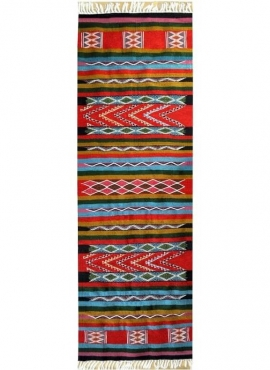Berber tapijt Tapijt Kilim lang Huelva 60x190 Veelkleurig (Handgeweven, Wol, Tunesië) Tunesisch kilimdeken, Marokkaanse stijl. R