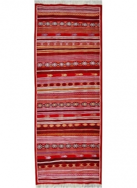 Tapete berbere Tapete Kilim longo Aljerid 75x195 Vermelho (Tecidos à mão, Lã, Tunísia) Tapete tunisiano kilim, estilo marroquino