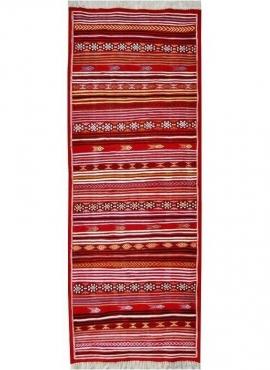 Berber tapijt Tapijt Kilim lang Aljerid 75x195 Rood (Handgeweven, Wol, Tunesië) Tunesisch kilimdeken, Marokkaanse stijl. Rechtho