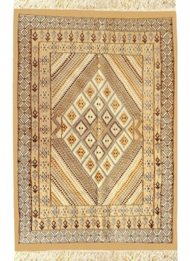 Berber carpet Large Rug Margoum Farhan 160x250 Beige (Handmade, Wool, Tunisia) Tunisian margoum rug from the city of Kairouan. R