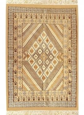 Berber Teppich Großer Teppich Margoum Farhan 160x250 Beige (Handgefertigt, Wolle, Tunesien) Tunesischer Margoum-Teppich aus der