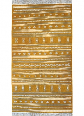 Berber tapijt Tapijt Kilim Jawad 135x240 Geel/Wit (Handgeweven, Wol, Tunesië) Tunesisch kilimdeken, Marokkaanse stijl. Rechthoek