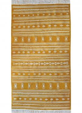 Tapis berbère Tapis Kilim Jawad 135x240 Jaune/blanc (Tissé main, Laine) Tapis kilim tunisien style tapis marocain. Tapis rectang