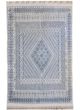 Berber carpet Large Rug Margoum Medina 198x298 Blue/White (Handmade, Wool, Tunisia) Tunisian margoum rug from the city of Kairou