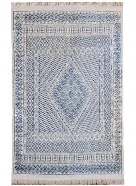 Tapis berbère Grand Tapis Margoum Medina 198x298 Bleu Blanc (Fait main, Laine, Tunisie) Tapis margoum tunisien de la ville de Ka