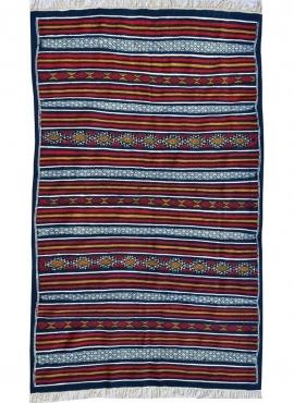 Berber Teppich Teppich Kelim Moknine 135x230 Blau/Gelb/Rot (Handgewebt, Wolle) Tunesischer Kelim-Teppich im marokkanischen Stil.