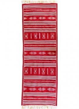 Tapis berbère Tapis Kilim long Hamraoui 60x200 Rouge (Tissé main, Laine, Tunisie) Tapis kilim tunisien style tapis marocain. Tap