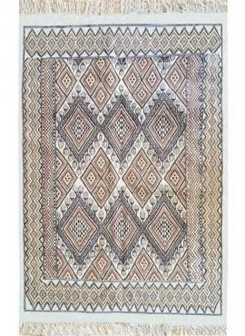 tappeto berbero Tappeto Margoum Lina 140x210 Bianco/Marrone (Fatto a mano, Lana, Tunisia) Tappeto margoum tunisino della città d