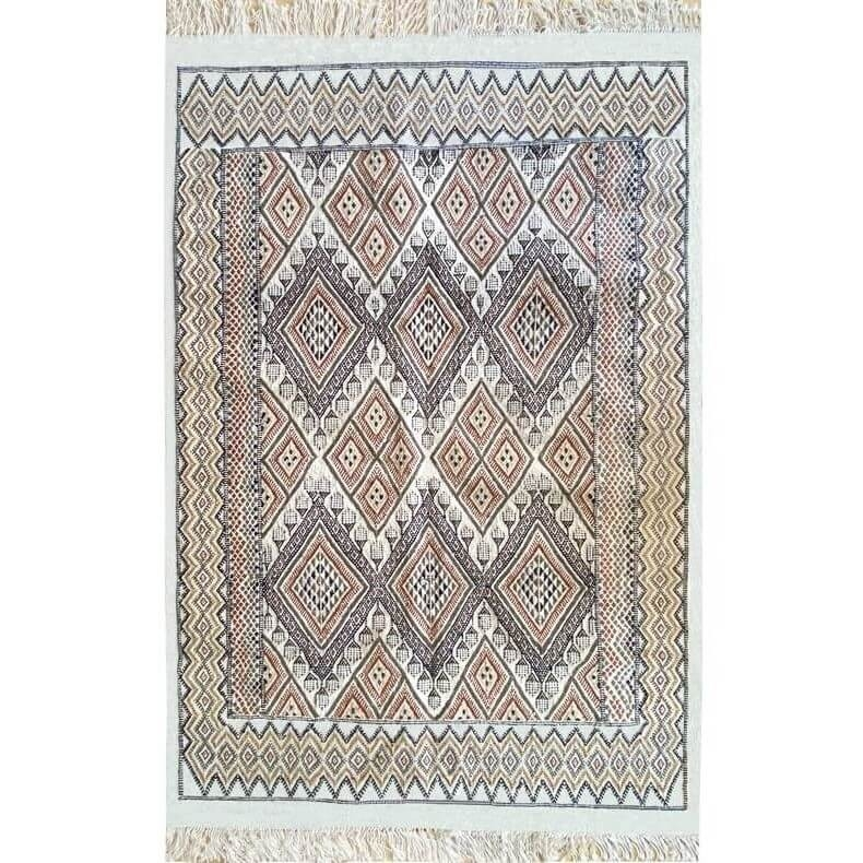 Berber carpet Rug Margoum Lina 140x210 White/Brown (Handmade, Wool, Tunisia) Tunisian margoum rug from the city of Kairouan. Rec