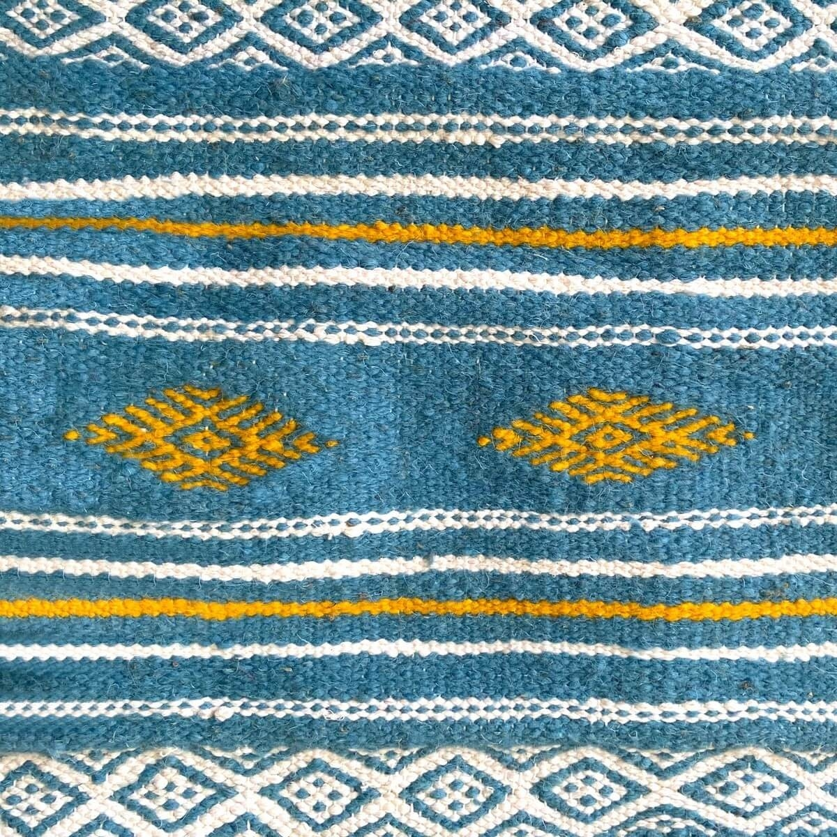 Berber carpet Rug Kilim Oued Zitoun 136x244 Blue turquoise/Yellow/Red (Handmade, Wool) Tunisian Rug Kilim style Moroccan rug. Re