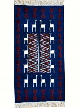 Berber tapijt Tapijt Kilim Ichbilia 60x115 Blauw/Wit/Rood (Handgeweven, Wol, Tunesië) Tunesisch kilimdeken, Marokkaanse stijl. R