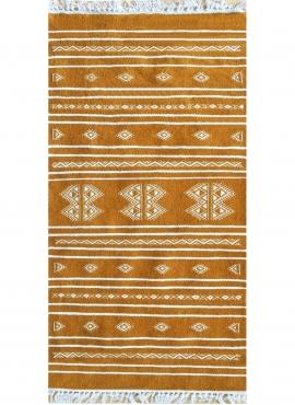 Tapis berbère Tapis Kilim Idleb 60x115 Jaune ocre (Tissé main, Laine, Tunisie) Tapis kilim tunisien style tapis marocain. Tapis