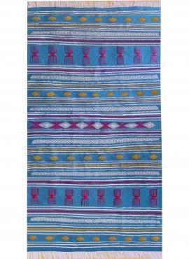 tappeto berbero Tappeto Kilim Oued Zitoun 136x244 Turchese/Giallo/Rosso (Fatto a mano, Lana) Tappeto kilim tunisino, in stile ma