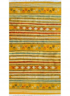 Tapis berbère Tapis Kilim Sahraoui 144x258 Jaune/blanc (Tissé main, Laine) Tapis kilim tunisien style tapis marocain. Tapis rect