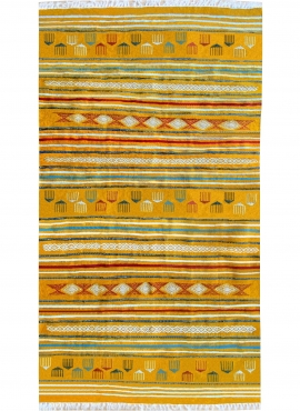 Berber Teppich Teppich Kelim Sahraoui 144x258 Gelb/Weiss (Handgewebt, Wolle) Tunesischer Kelim-Teppich im marokkanischen Stil. R