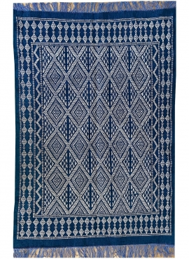 Tapete berbere Tapete Margoum Makki 124x186 Azul (Artesanal, Lã) Tapete Margoum tunisino da cidade de Kairouan. Tapete retangula
