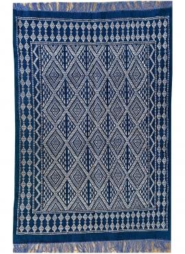 tappeto berbero Tappeto Margoum Makki 124x186 Blu (Fatto a mano, Lana) Tappeto margoum tunisino della città di Kairouan. Tappeto