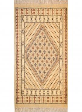 tappeto berbero Tappeto Margoum Teskreya 112x206 Beige (Fatto a mano, Lana, Tunisia) Tappeto margoum tunisino della città di Kai