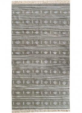 Berber tapijt Tapijt Kilim Alkahfe 110x200 Grijs (Handgeweven, Wol, Tunesië) Tunesisch kilimdeken, Marokkaanse stijl. Rechthoeki