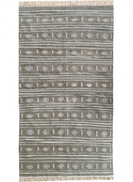 Tapis berbère Tapis Kilim Alkahfe 110x200 Gris (Tissé main, Laine, Tunisie) Tapis kilim tunisien style tapis marocain. Tapis rec