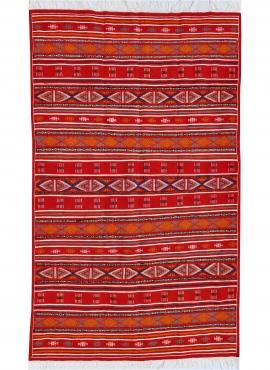 Berber Teppich Großer Teppich Kelim Bir Salah 180x305 Rot (Handgewebt, Wolle, Tunesien) Tunesischer Kelim-Teppich im marokkanisc