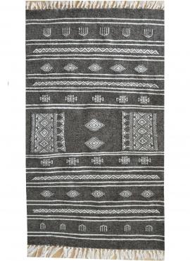 Berber tapijt Tapijt Kilim Mizza 65x115 Grijs/Wit (Handgeweven, Wol, Tunesië) Tunesisch kilimdeken, Marokkaanse stijl. Rechthoek