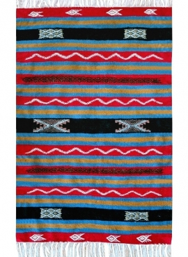 Berber carpet Rug Kilim Halep 80x115 Blue/Red/Yellow (Handmade, Wool) Tunisian Rug Kilim style Moroccan rug. Rectangular carpet