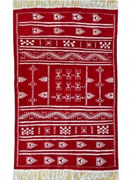 Berber Teppich Teppich Kelim Granada 100x150 Rot (Handgewebt, Wolle, Tunesien) Tunesischer Kelim-Teppich im marokkanischen Stil.
