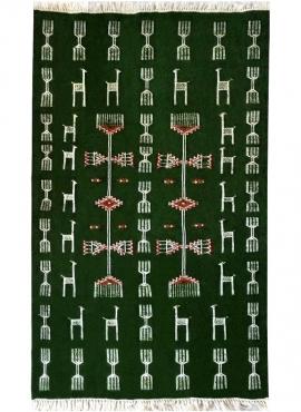 Tapis berbère Tapis Kilim Touijer 95x165 Vert/Rouge (Tissé main, Laine, Tunisie) Tapis kilim tunisien style tapis marocain. Tapi