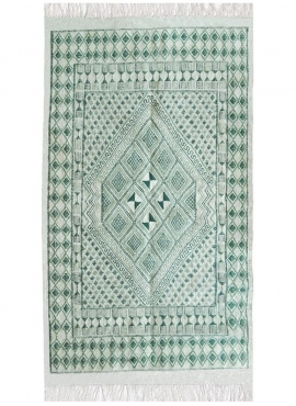 Berber carpet Rug Margoum Zembra 120x190 Green/White (Handmade, Wool, Tunisia) Tunisian margoum rug from the city of Kairouan. R