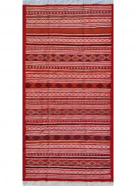 Berber Teppich Teppich Kelim Driba 110x210 Rot/Orange (Handgewebt, Wolle, Tunesien) Tunesischer Kelim-Teppich im marokkanischen