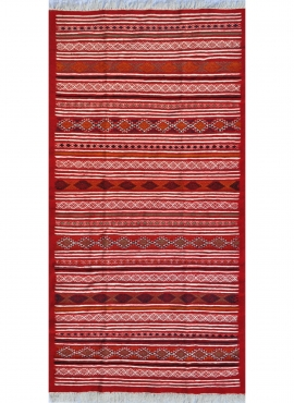 Berber tapijt Tapijt Kilim Driba 110x210 Rood/Oranje (Handgeweven, Wol, Tunesië) Tunesisch kilimdeken, Marokkaanse stijl. Rechth