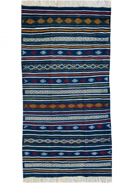Berber tapijt Tapijt Kilim Bargou 100x190 Blauw/Jeel/Rood (Handgeweven, Wol, Tunesië) Tunesisch kilimdeken, Marokkaanse stijl. R