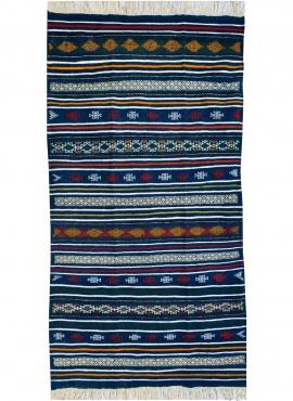 Berber Teppich Teppich Kelim Bargou 100x190 Blau/Gelb/Rot (Handgewebt, Wolle) Tunesischer Kelim-Teppich im marokkanischen Stil.