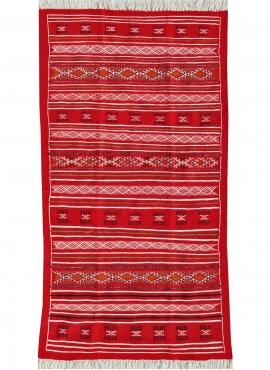 Tapete berbere Tapete Kilim Agadir 115x200 Vermelho (Tecidos à mão, Lã, Tunísia) Tapete tunisiano kilim, estilo marroquino. Tape