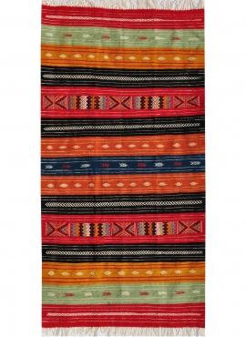Berber carpet Rug Kilim Tazarka 115x220 Multicolour (Handmade, Wool, Tunisia) Tunisian Rug Kilim style Moroccan rug. Rectangular