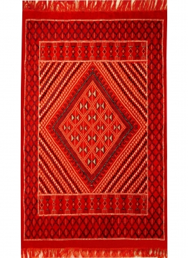Berber carpet Rug Margoum Kantoui 120x180 Red (Handmade, Wool) Tunisian margoum rug from the city of Kairouan. Rectangular livin