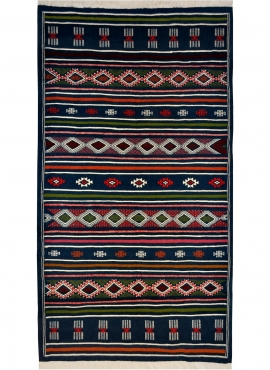 Berber carpet Rug Kilim Tajrouine 115x200 Blue/Green/Red (Handmade, Wool) Tunisian Rug Kilim style Moroccan rug. Rectangular car