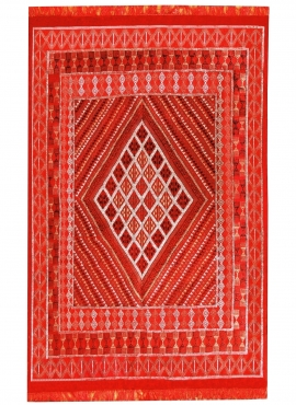 Tapete berbere Grande Tapete Margoum Ilya 165x255 Vermelho (Artesanal, Lã, Tunísia) Tapete Margoum tunisino da cidade de Kairoua