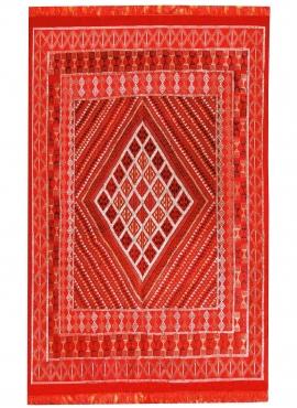 Tapis berbère Grand Tapis Margoum Ilya 165x255 Rouge (Fait main, Laine, Tunisie) Tapis margoum tunisien de la ville de Kairouan.