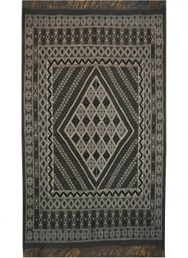 Berber carpet Large Rug Margoum Kesra 165x250 Grey anthracite (Handmade, Wool) Tunisian margoum rug from the city of Kairouan. R