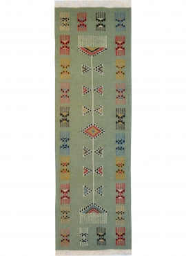 Berber tapijt Tapijt Kilim lang Zramdine 60x190 Groen/Veelkleurig (Handgeweven, Wol, Tunesië) Tunesisch kilimdeken, Marokkaanse