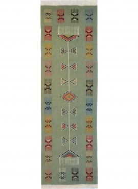 Tapis berbère Tapis Kilim long Zramdine 60x190 Vert/Multicolore (Tissé main, Laine) Tapis kilim tunisien style tapis marocain. T