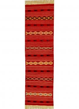 Tapis berbère Tapis Kilim long Mellassine 60x200 Rouge (Tissé main, Laine, Tunisie) Tapis kilim tunisien style tapis marocain. T