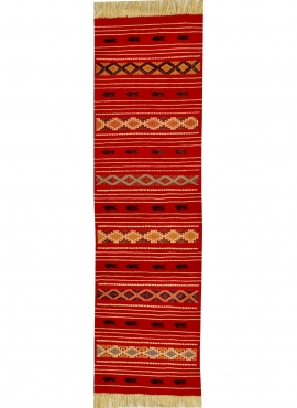 Berber Teppich Teppich Kelim lang Mellassine 60x200 Rot (Handgewebt, Wolle, Tunesien) Tunesischer Kelim-Teppich im marokkanische