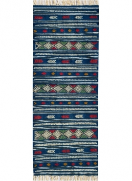 Tapete berbere Tapete Kilim longo Massoud 70x180 Azul (Tecidos à mão, Lã, Tunísia) Tapete tunisiano kilim, estilo marroquino. Ta